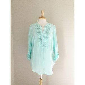 Relativity Polka Dot Floral Lace Aqua Blue Blouse
